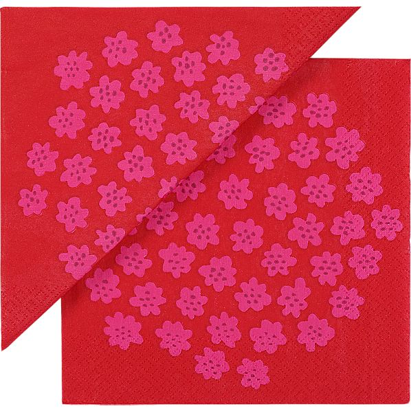 "Set of 20 Marimekko Puketti Red and Pink 6.5"" Paper Napkins"