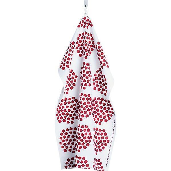 Marimekko Puketti Red and White Dishtowel
