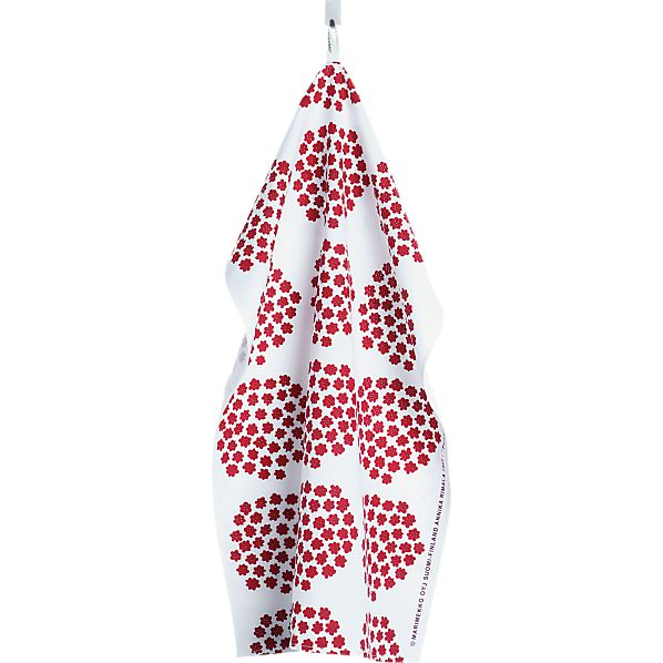 Marimekko Puketti Red and White Dishtowel