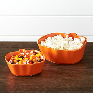 "Pumpkin Bowls Set of Two: 4.5"" dia. and 6"" dia."