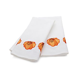 Set of 2 Pumpkin Embroidered Waffle Dish Towels