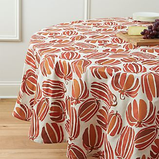 "Pumpkin Patch 90"" Round Tablecloth"