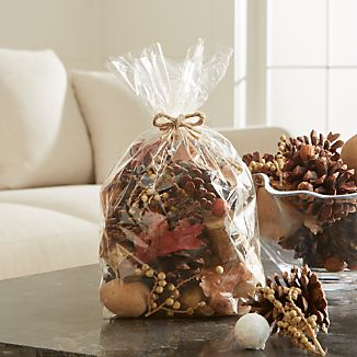 Fill a bowl with this fall-inspired potpourri and fill your home with the warming scents and gorgeous colors and shapes of autumn. Bagged mix contains pinecones, birch, chestnuts, oak branches and other natural specimens.