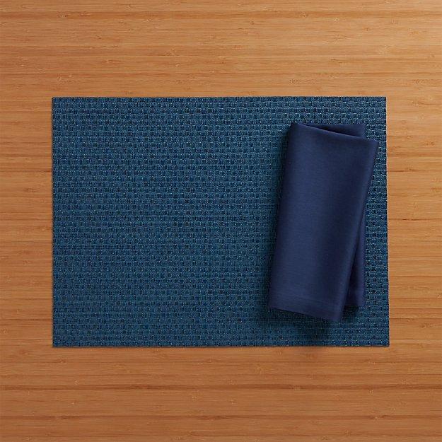 Chilewich ® Purl Blue Vinyl Placemat and Fete Blue Cotton Napkin
