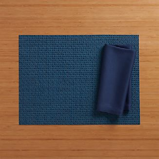 Chilewich ® Purl Blue Vinyl Placemat and Fete Blue Cotton Napkin
