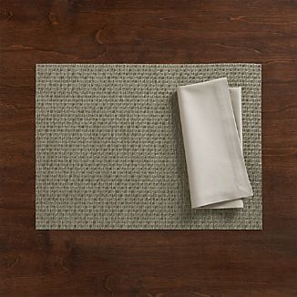 Chilewich ® Purl Silver Vinyl Placemat and Fete Dove Cotton Napkin