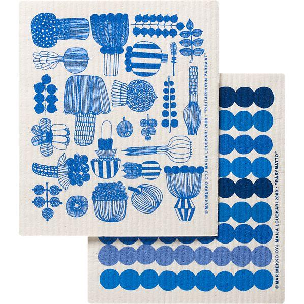 Set of 2 Marimekko Puutarhurin Parhaat and Räsymatto Dishcloths