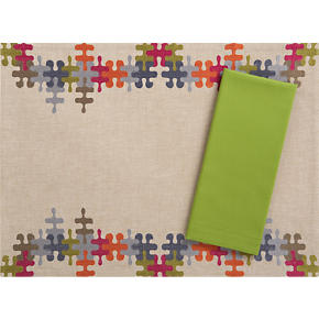 Puzzle Placemat and Cotton Asparagus Napkin