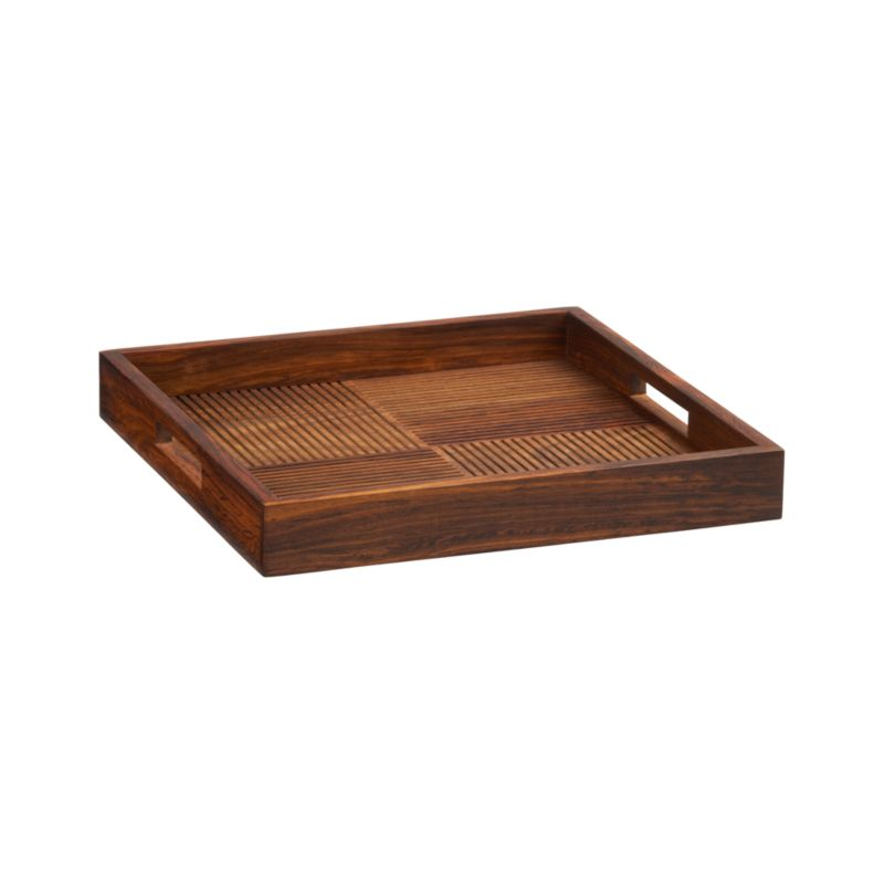 Carved texture in counterpoint adds decorative interest to this contemporary four-square tray, crafted of beautiful shesham wood with raised rim.<br /><br /><NEWTAG/><ul><li>100% shesam wood</li><li>Clean with a soft cloth</li><li>Made in India</li></ul>