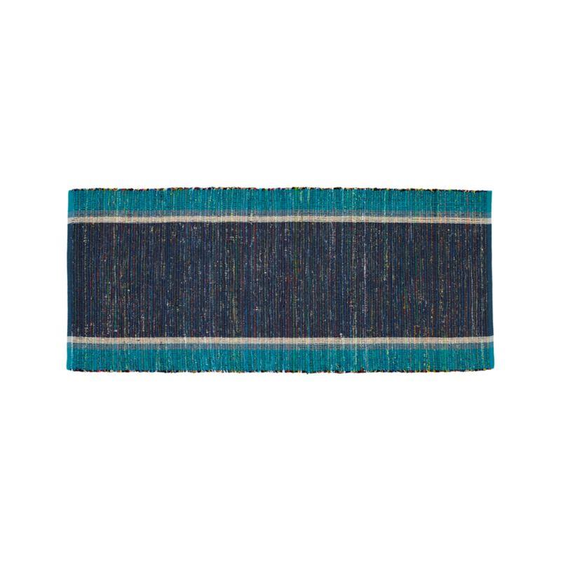 Quentin Blue Cotton 2.5'x6' Rug Runner