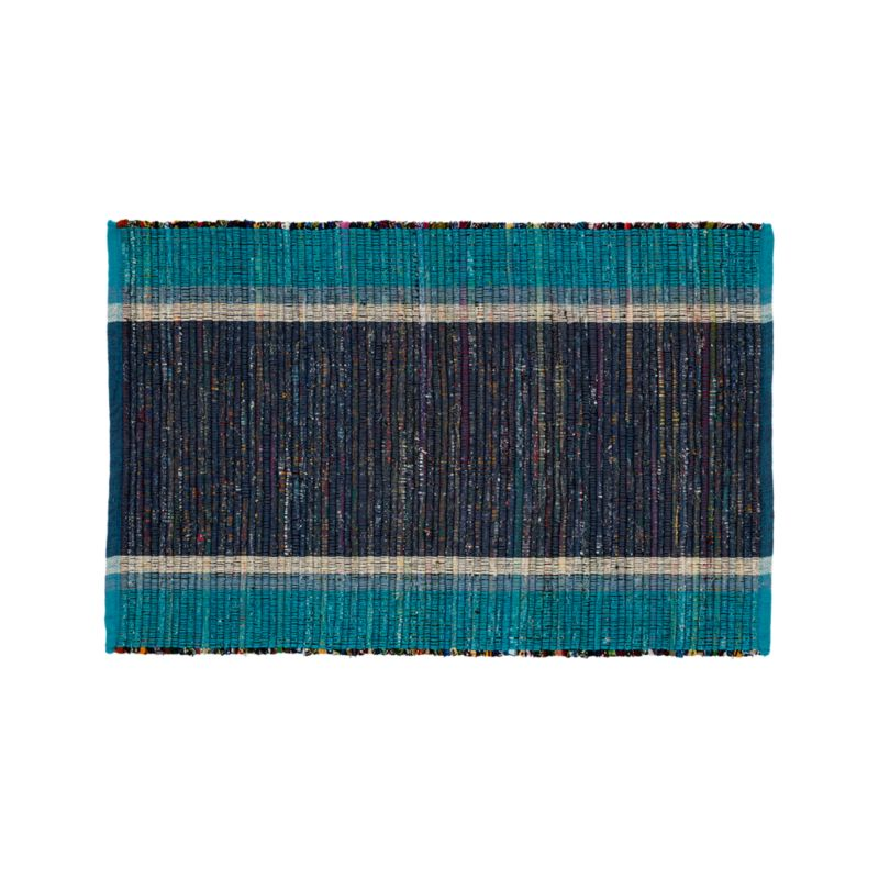 Quentin Blue Cotton 2'x3' Rug