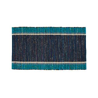 "Quentin Blue Cotton 30""x50"" Rug"