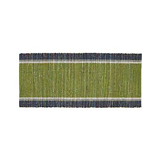 Quentin Green Cotton 2.5'x6' Rug Runner