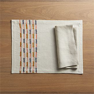 Quinn Placemat and Helena Dark Natural Linen Napkin