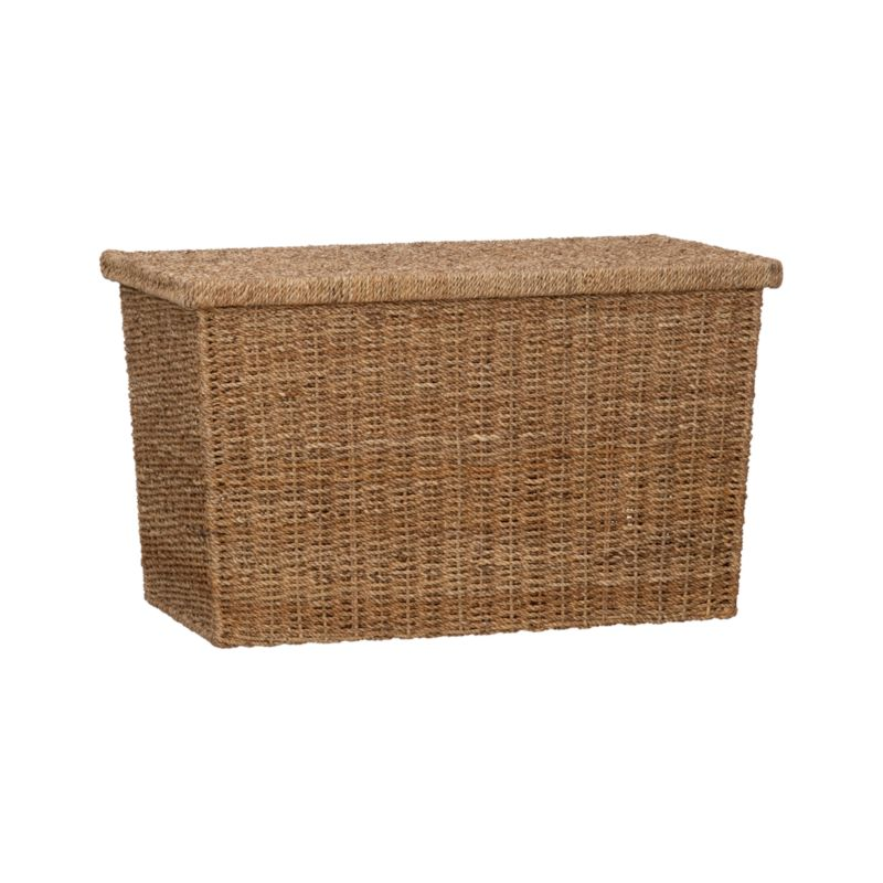 Honey-toned abaca is handwoven around rattan wicker and a sturdy metal frame into a handsome hiding place for blankets, toys and more. Removable lid keeps things out of sight and spaces looking tidy.<br /><br /><NEWTAG/><ul><li>Abaca rope</li><li>Metal frame</li><li>Clean with dry cloth</li><li>Made in The Philippines</li></ul>
