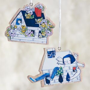 Set of 2 Quirky House Ornaments