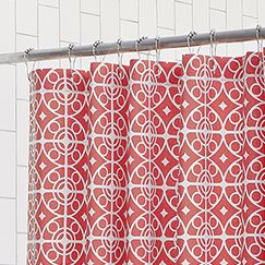 Red geometric shower curtain