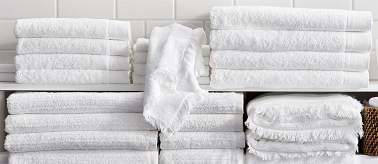 White cotton bath towels
