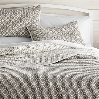 Raj Reversible Grey Quilts and Pillow Shams