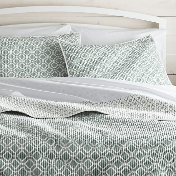 Raj Reversible Light Blue Quilts And Pillow Shams Crate