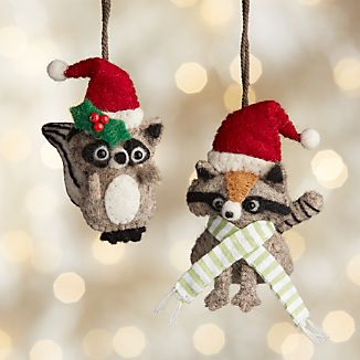 Raccoon Felt Ornaments