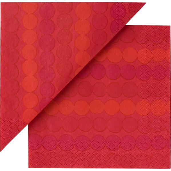 """Set of 20 Marimekko Räsymatto Red Paper 4.75"""" Napkins"""
