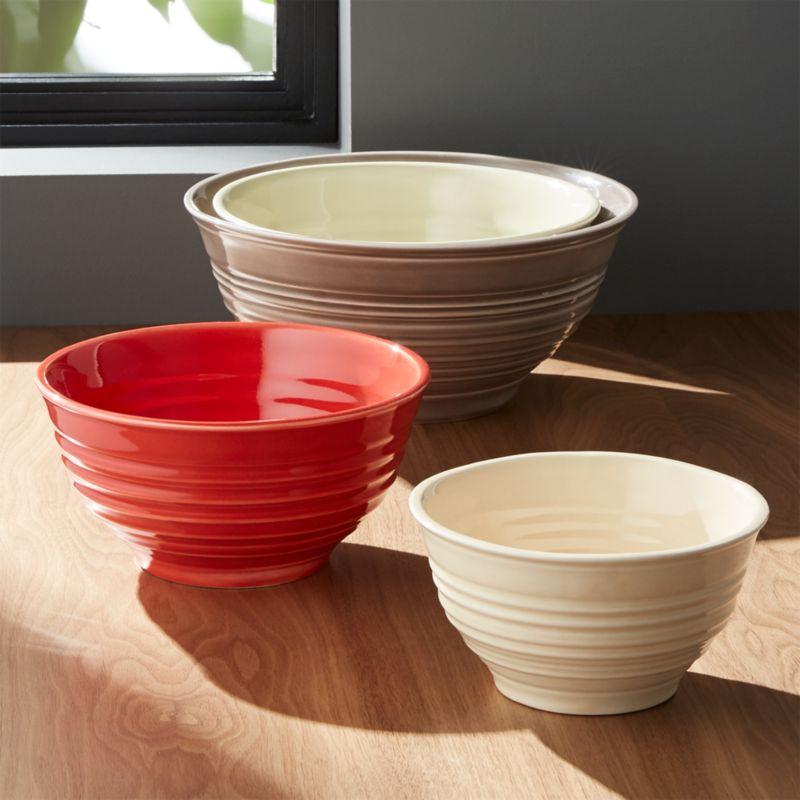 Ravenna Nesting Ceramic Bowls Set Of 4 Crate And Barrel