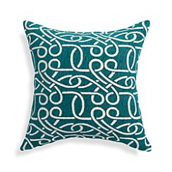 "Raya Azure Blue 18"" Pillow with Feather-Down Insert"