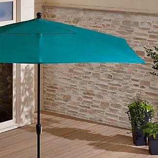 Rectangular Sunbrella ® Bold Turquoise Patio Umbrella with Black Frame