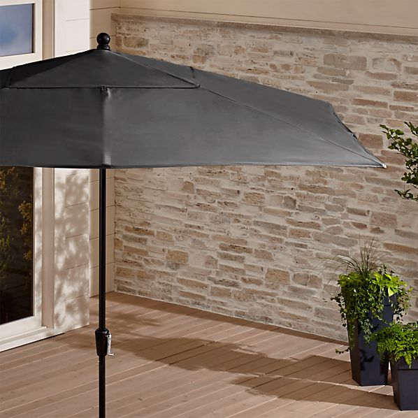 Rectangular Sunbrella ® Charcoal Patio Umbrella with Black Frame