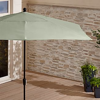 Rectangular Sunbrella ® Fern Outdoor Umbrella with Black Frame