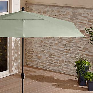 Rectangular Sunbrella ® Fern Outdoor Umbrella with Black Frame