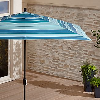 Rectangular Sunbrella ® Seaside Striped Outdoor Umbrella with Black Frame