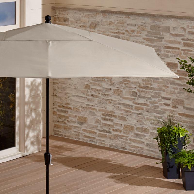 Rectangular Sunbrella 174 Stone Patio Umbrella With Black