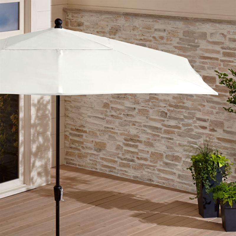 Rectangular Sunbrella ® White Sand Patio Umbrella with Black Frame