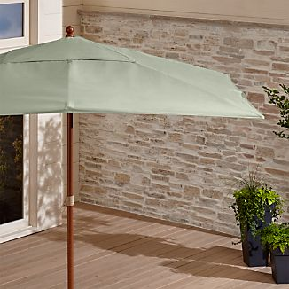 Rectangular Sunbrella ® Fern Outdoor Umbrella with Eucalyptus Frame