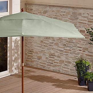 Rectangular Sunbrella ® Fern Outdoor Umbrella with Eucalyptus Frame