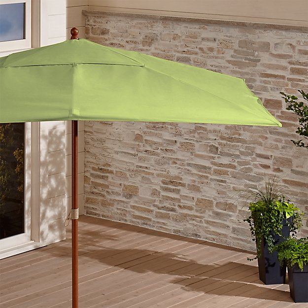 Rectangular Sunbrella ® Kiwi Outdoor Umbrella with Eucalyptus Frame