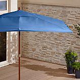 Rectangular Sunbrella ® Mediterranean Blue Patio Umbrella with Eucalyptus Frame