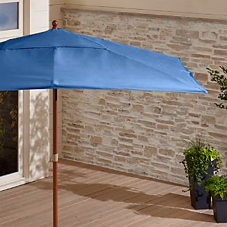Rectangular Sunbrella ® Mediterranean Blue Patio Umbrella with Eucalyptus Frame