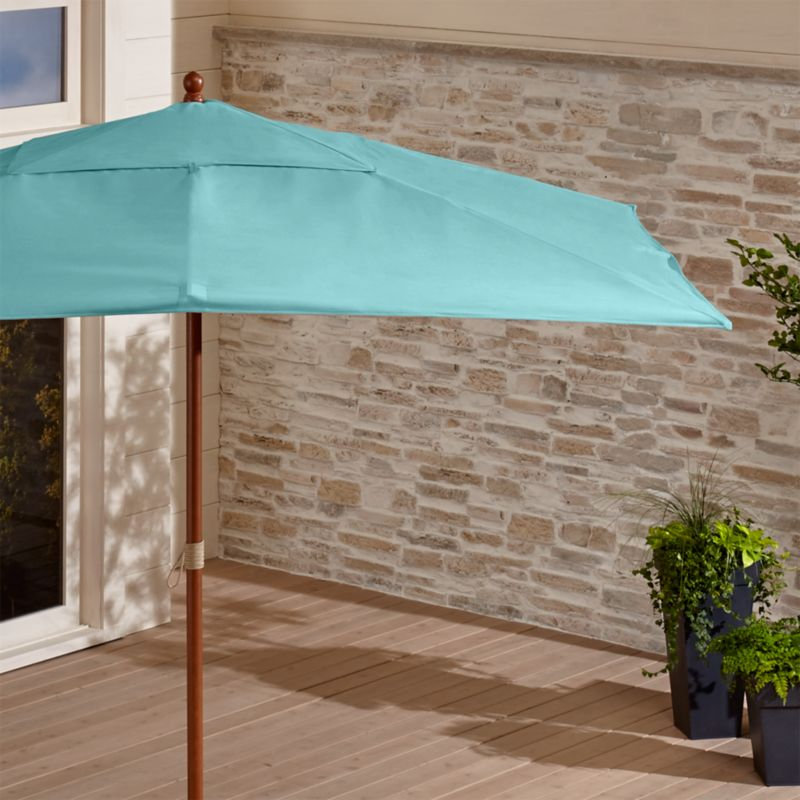 Rectangular Sunbrella ® Mineral Blue Patio Umbrella with Eucalyptus Frame