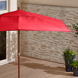 Rectangular Sunbrella ® Ribbon Red Outdoor Umbrella with Eucalyptus Frame