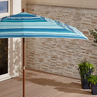 Rectangular Sunbrella ® Seaside Striped Outdoor Umbrella with Eucalyptus Frame