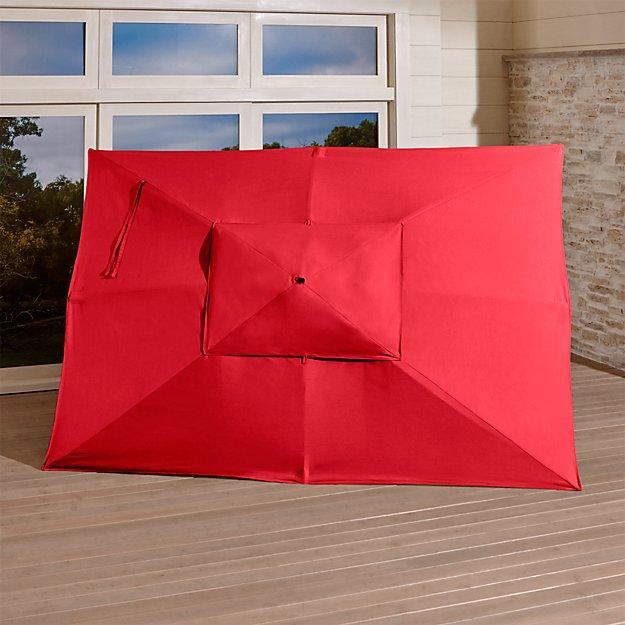 Rectangular Sunbrella 174 Ribbon Red Outdoor Umbrella Canopy Crate And Barrel