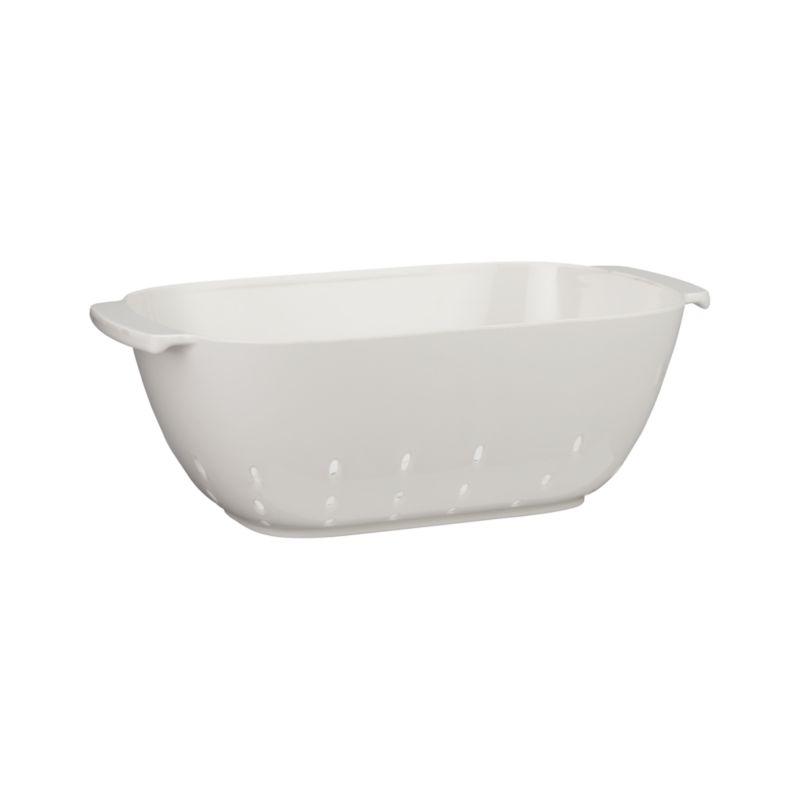 Durable bright white melamine colander with a fresh rectangular design takes on draining, straining and rinsing functions with a form that deserves to serve at the table.<br /><br /><NEWTAG/><ul><li>Melamine</li><li>BPA-free</li><li>Dishwasher-safe</li><li>Not microwave-safe</li><li>Made in China</li></ul>