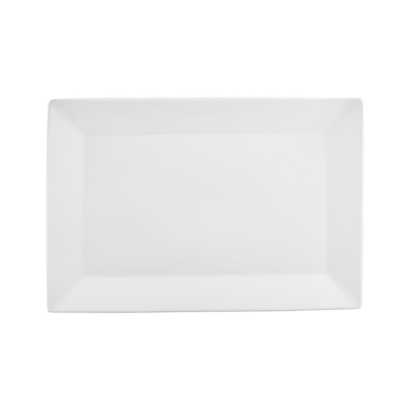 Serve on the long and narrow. White porcelain platter is framed with a wide flared rim.<br /><br /><NEWTAG/><ul><li>Porcelain</li><li>Dishwasher-, microwave- and oven-safe</li><li>Made in China</li></ul>