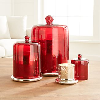 Scented Candles with Red Cloche Top