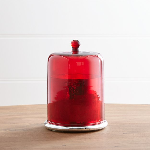 Cinnamon Scented Medium Candle with Red Cloche Top