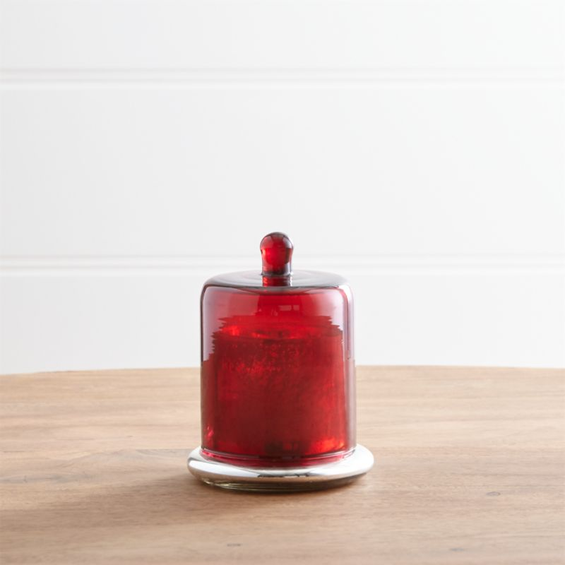 Scented Small Candle with Red Cloche Top
