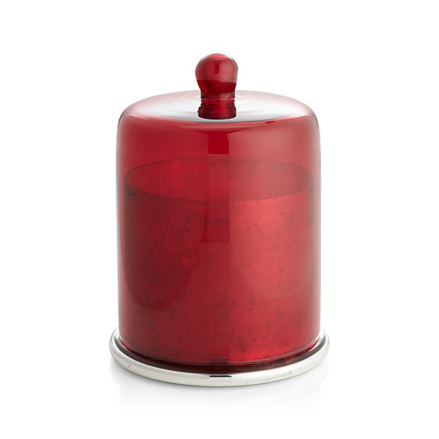 Scented Large Candle With Red Cloche Top Crate And Barrel